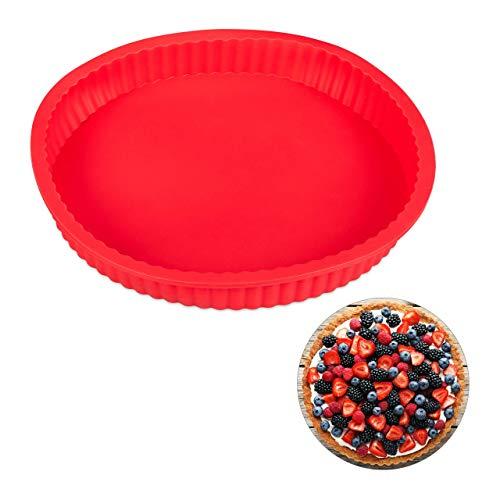 Relaxdays Molde de silicona para horno, Quiche & Tarta, Redondo, Ø 25 cm, Apto para lavavajillas, Rojo