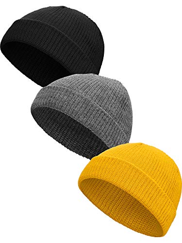 SATINIOR 3 Stück Winter Trawler Beanie Uhr Hut Strickmanschette Beanie Roll up Edge Skullcap Fisherman Beanie