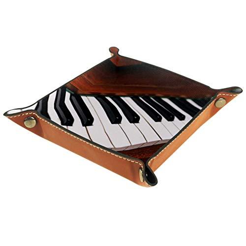 Bandeja de Valet Cuero para Hombres - Tecla de Piano Retro -...