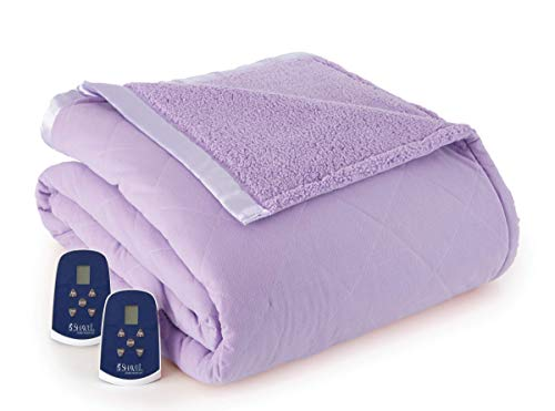 Thermee Micro Flannel Electric Blanket with Sherpa, Lilac, Queen