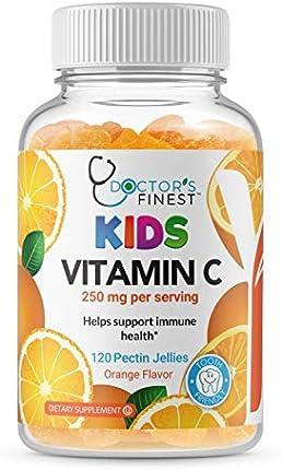 Médicos Finest Vitamina C Gommies para niños – Vegano, sin OGM y sin gluten – Gran sabor naranja pectina masticable – Suplemento dietético para niños – 250 mg de vitamina C – 120 gelatinas [60 dosis]