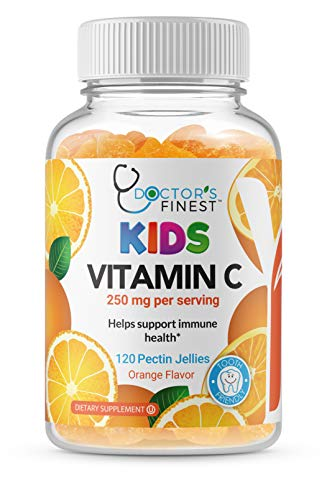 Doctors Finest Vitamin C Gummies for Kids – Vegan, GMO Free & Gluten Free – Great Tasting Orange Flavor Pectin Chews – Kids Dietary Supplement – 250 mg of Vitamin C – 120 Jellies [60 Doses]