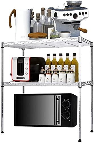 Scaffale da forno a microonde, con 4 ganci, regolabile, per spezie, cucina, in acciaio al carbonio, 50 x 30 x 50 cm