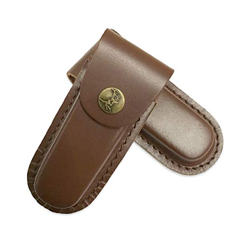 Rong serena Leather Knife Pouch, Folding Knife Sheath Cover Case for Camping Hiking Outdoor Activities (Brown)