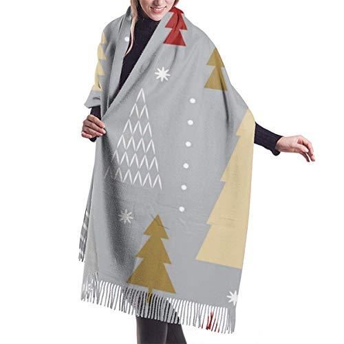 Tengyuntong Pashmina Wrap Manta Bufanda, Mujer Pashmina Bufanda, Árbol de Navidad Suave Wrap Chal Borlas Bufandas Para Mujer