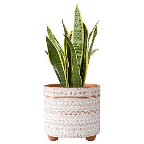 8 Inch Planter Pots, Geometric Design Ceramic Plants Pot with Drainage Hole, Terracotta/White