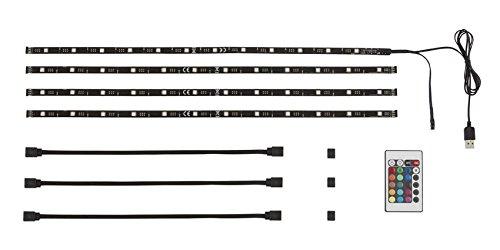 Telefunken - LED TV Hintergrundbeleuchtung, Licht-leiste mit Fernbedienung, LED Band 2m, dimmbar, USB-Anschluss, 48 x RGB-LED, Farbwechsel-Option