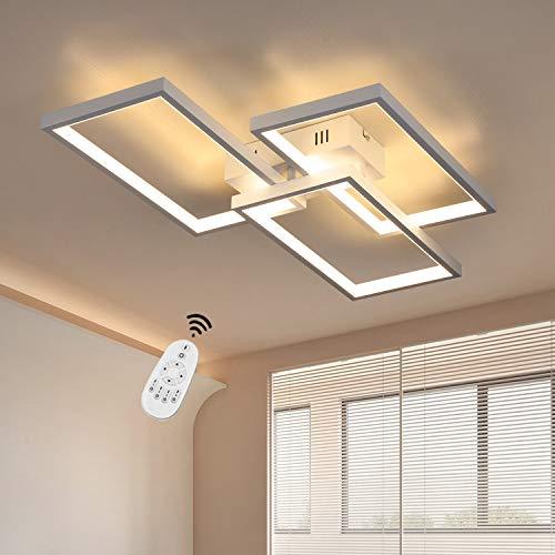 CBJKTX Deckenlampe LED Deckenleuchte dimmbar mit Fernbedienung 63W Weiße Wohnzimmerlampe aus Metall Modern-Design für Schlafzimmer Esszimmer Wohnzimmer Arbeitszimmer Flur Büro