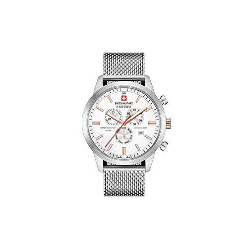 Swiss Military Hanowa Unisex Erwachsene Analog Quarz Uhr mit Edelstahl Armband 06-3308.12.001