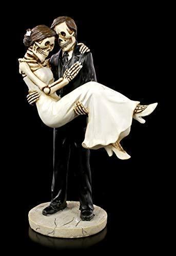 Skelett Gothic-Brautpaar Figur - Braut trägt Bräutigam | Hochzeits-Deko, handbemalt, H 16 cm