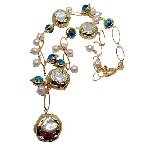 LILY123 Collier de chaîne rempli d'or de Perles de Keshi Blanches de Culture d'eau Douce en Verre Bleu