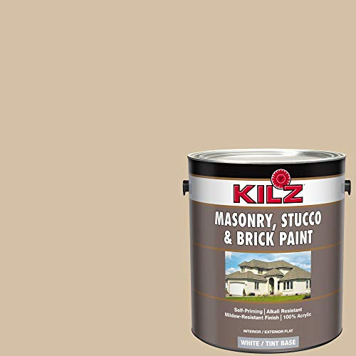KILZ 13510801 L340711 Interior/Exterior Self-Priming Masonry, Stucco and Brick Flat Paint, 1 Gallon, Pismo Beach/Light Warm Tan, 128 Fl Oz