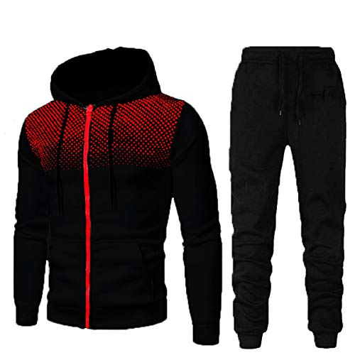 ZGDJZM Mens Mode Anzug Trainingsanzug Gradient Outfit Set Langarm-Reißverschluss Hoodie Jogging-Bottoms Sportanzüge Casual Hose M-3XL Black-L