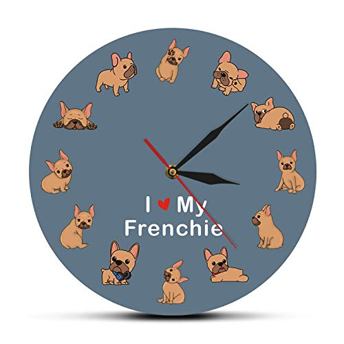 Wall Clock I Love My Frenchie Puppy Dog Printed Wall Clock Dog Breed French Bulldog Decorative Silent Wall Watch Pet Shop Wall Art Sign Easy to Read for Room/Home/Kitchen/Bedroom/Office/School