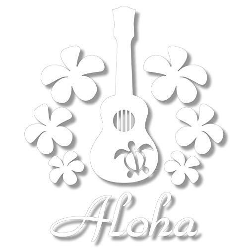 nc-smile ハワイアンステッカー ホヌ プルメリア Aloha ukulele ウクレレ H225mm ホワイト