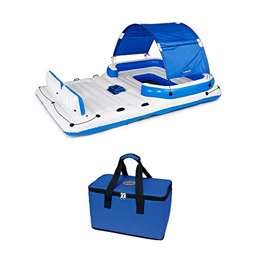 Tropical Breeze 6 Person Floating Island Lounge Raft bundled w/ Repair Patch Kit
