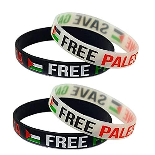 Banda de muñeca de Goma de Silicona Palestina Libre Save Gaza, Pulsera de Deportes de motivación Libre de la Bandera Palestina de Gaza 10 Piezas