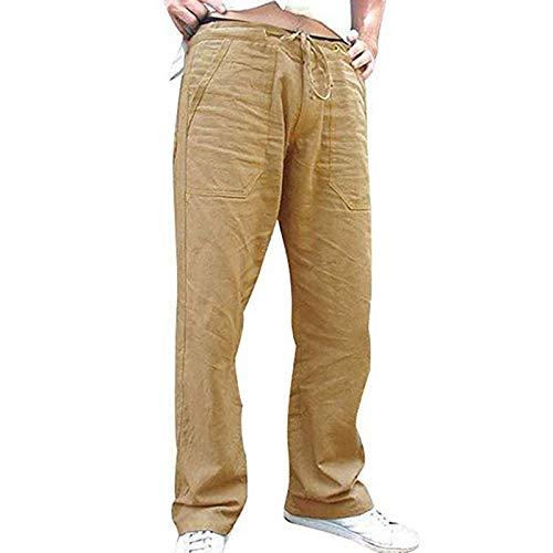 Pantalones Casuales para Hombre con Cordones, Rectos, Holgados, de algodón y Lino, Ligeros, Transpirables, Lisos, Casuales, Casuales, Pantalones XX-Large