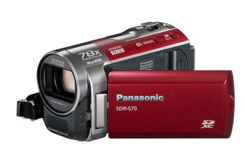 Panasonic SDR-S70EG-R Videocamera, Sensore CCD, Slot SD, Zoom Ottico 78x, LCD 2,7'', Rosso