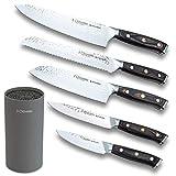 3 Claveles Juego de 5 cuchillos de cocina profesionales de acero inoxidable cuchillos de cocinero con soporte cuchillos de fibras kimura