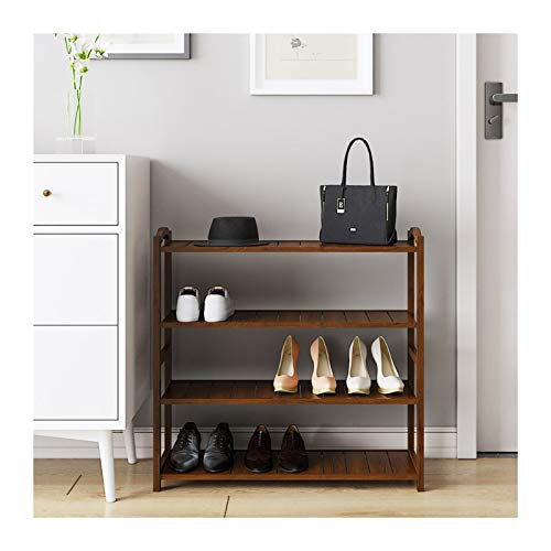 Free Standing Shoe Rack, 100% Bamboo Entryway Shoe Shelf Storage Organizer, Shoe Rack for Entryway, Ideal for Hallway Bathroom Garden (Color : Wood Color, Size : 70cm)