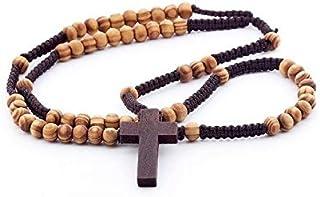 DonDon Rosario in legno con perle marrone chiaro e croce marrone scuro