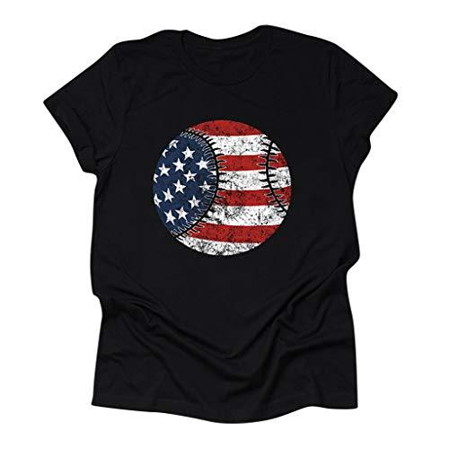 LEXUPE Damenmode O-Ausschnitt Baseball Flaggendruck Kurzarm T-Shirt Grafik Bluse(A-Schwarz,Large)