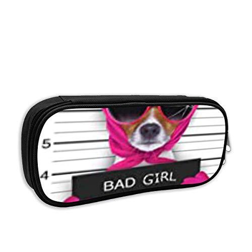 Fashion School Pencil Case, Diva Lady Girl Dog posiert schönen Fahndungsfoto als Verbrecher und Dieb zerbrochene Sonnenbrille Schal Stift Tasche Office Briefpapier Tasche für Schule & Bürobedarf