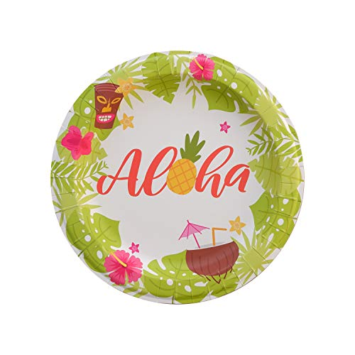 Luau Party Plates - 50-Count Large Aloha Disposable Paper Plates for Hawaiian Luau Tiki Summer Theme Birthday, Beach Party, Picnic, Barbecue - 10.5' x 10.5'