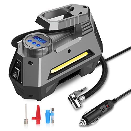 Compressore Portatile per Auto,joyroom 12V 150 PSI Gonfiatore Pneumatici Auto con Touch Screen,Flusso d'Aria 35L Min,Preselezione e Spegnimento Automatico,3 Adattatori Ugelli,Display LED,per Moto Auto