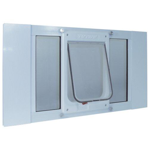 """Ideal Pet Products Aluminum Sash Window Pet Door, Large, 7.5"""" x 10.5"""" Flap Size, White"""