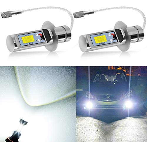 AUXLIGHT H3 LED Fog Light DRL Bulbs, 3000 Lumens Extremely Bright Bulbs Replacement for Cars, Trucks, 6000K Xenon White