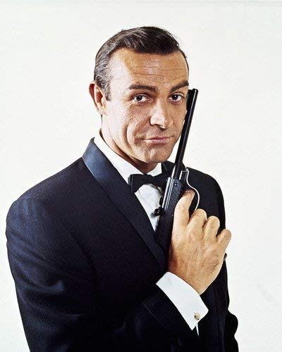 MagicBaobab #Goldfinger #Sean #Connery #Iconic #Pose #as #James #Bond #with #Walther #P #Gun Poster Wall Art Home Decor