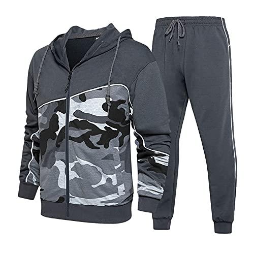 Dihope – Conjunto de chándal casual y pantalón de deporte con capucha y cremallera para hombre, 2 piezas, para otoño (gris, L)