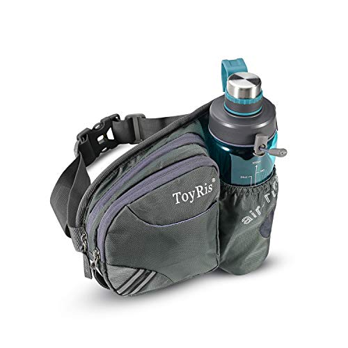 ToyRis Hiking Waist Belt Fanny Pack with Water Bottle Holder for Men Women Outdoor Running Traveling Camping & Dog Walking Fits All Kinds of Smart Phones (Grey)