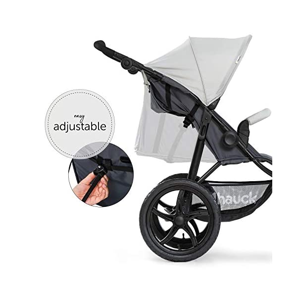 Hauck Runner, Jogger Style, 3-Wheeler, Pushchair with Extra Large Air Wheels, Foldable Buggy, For Children from Birth to 25kg, Lying Position - Silver Grey Hauck LONG USE - This 3-wheel pushchair is suitable from birth (in lying position or in combination with the 2in1 Carrycot) and can be loaded up to 25kg (seat unit 22 kg + basket 3 kg) ALL-TERRAIN - Thanks to the big air wheels - back 39cm diameter, front 30 diameter – as well to the swiveling and lockable front wheel, this jogger style pushchair can be used on almost any terrain COMFORTABLE - Thanks to adjustable backrest and footrest, sun canopy, large shopping basket, and height-adjustable push handle 10