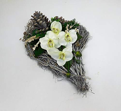 Ziegler Rebenherz Orchideen Orchideengesteck Türdeko Tischgesteck Tischdeko Herz Creme weiß
