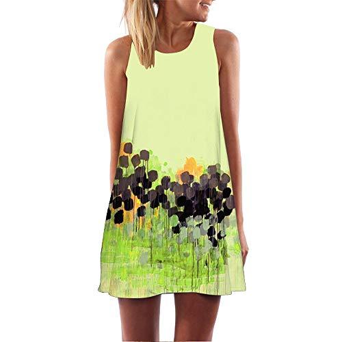 VENMO Vestidos Mujer Verano 2019 Corto Casual Moda O Cuello Vestidos sin Mangas 3D Floral Print Bohemia Suelto Vestidos Playa Faldas Vestidos De Fiesta para Bodas