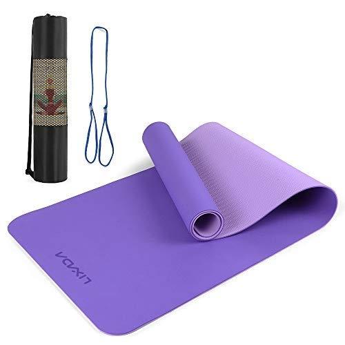 Lixada - Esterilla de yoga Dual-Color TPE, espesada, 8 mm, con correa y funda de 183 x 61 cm, antideslizante, portátil para pilates, gimnasia y baile, entrenamiento