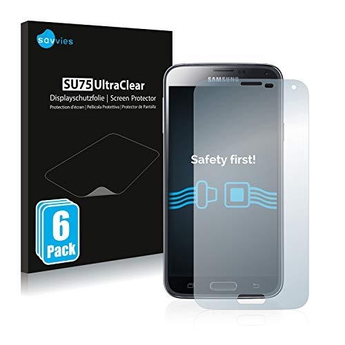 savvies 6-Pezzi Pellicola Protettiva Compatibile con Samsung Galaxy S5 Protezione Schermo Trasparente