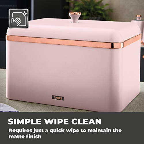 Tower Cavaletto Bread Bin - Marshmallow Pink and Rose Gold