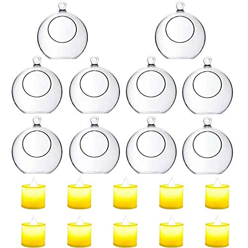 10 Pack 3.54'/90mm Acrylic Hanging Tealight Candle Holder with 10 Pack Flameless LED Candles, Globe Ornament for Air Plant, Tea Light Candlestick for Home Party Decor Wedding Birthday Christmas