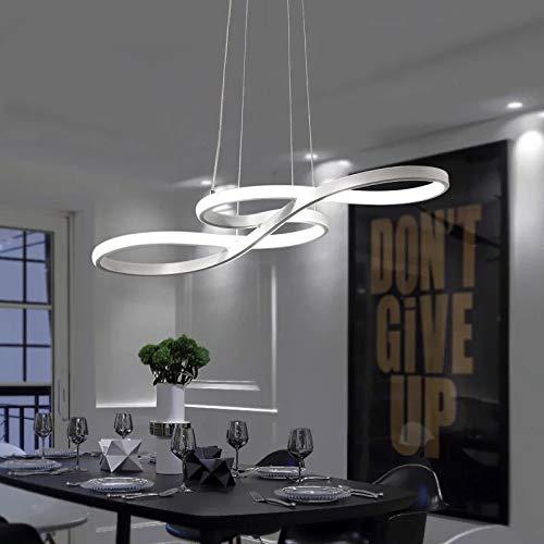 S&shan Art et Design En Forme Concise Moderne LED Lampes Salon Pendentif Lampe Magasin de Vêtements Bar Creative Chandelier LED Salle À Manger, Luminosité Dimmable, blanc