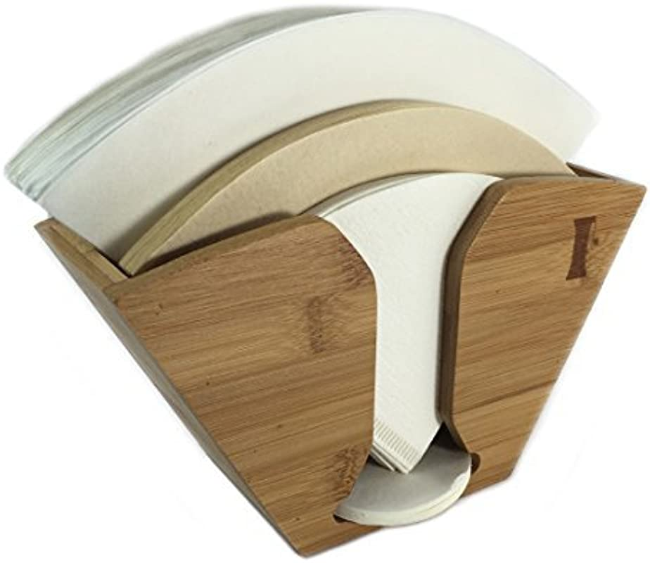 HAND GROUND Bamboo Coffee Filter Holder For Chemex Filters With Aeropress Filter Dispenser