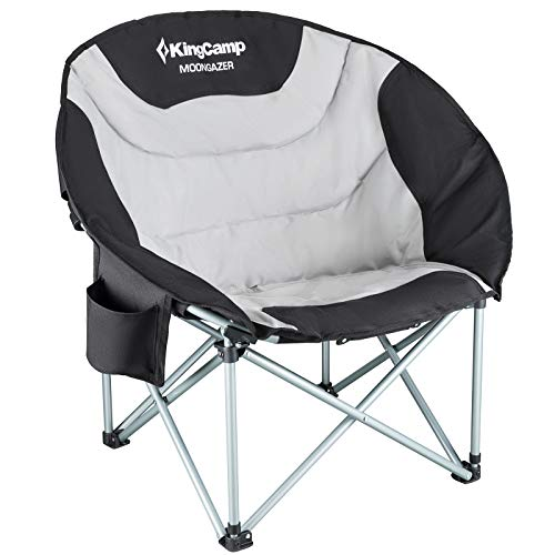 KingCamp Moon Saucer Leisure Heavy Duty Steel Camping Chair Padded Seat with Cup Holder and Cooler Bag (BlackGrey)