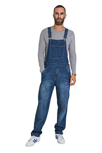 USKEES Christopher Latzhose, Denim - Midwash Herren Overall Loose Fit CHRISTOPHER1MIDWASH-38W