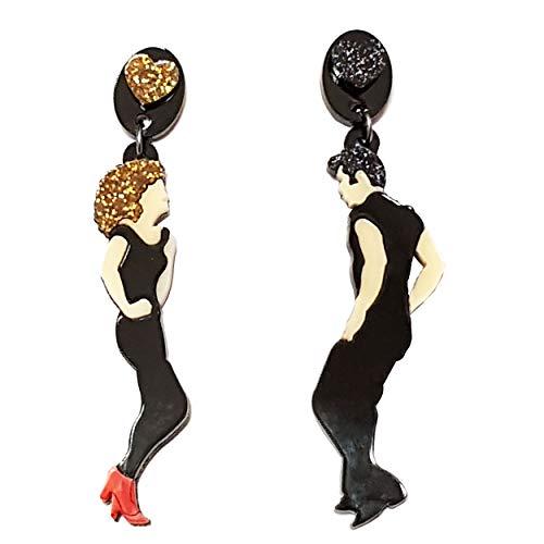 VIALESCARPE - Pendientes colgantes artesanales Arky Fly de plexiglás de color, fabricados con láser, Grease. Mujer, blanco, negro y dorado.
