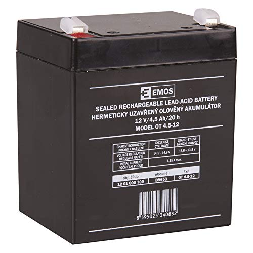 EMOS B9653 Wartungsfreier Bleiakku/Bleiakkumulator für Notbeleuchtung, Alarmsysteme, Brandmeldetechnik, Kinderfahrzeuge, USV-Anlagen, 12V, 4,5 Ah, faston 4,7 mm, 12 V