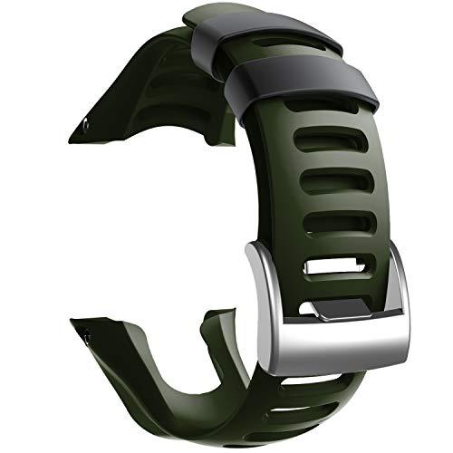 NotoCity Compatible con Correa Suunto Ambit 3, Silicona Reloj de Recambio Brazalete Correas para Suunto Ambit 3 (Hebilla de Plata, Armee Green)