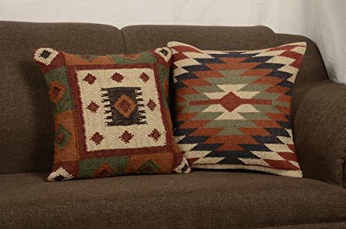 Chouhan Rugs 2 Set of Indian Kilim Cushion Cover 18X18 Pillows Boho Ethnic Shams Jute Pillow Cases Rug Boho Shams
